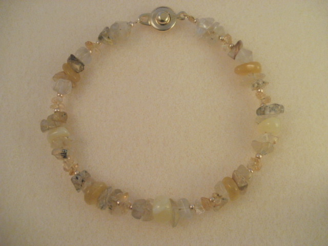 rutilated quartz & yellow opal & citrine
